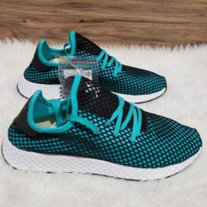 New Adidas Deerupt Runner Teal Blue Sneakers